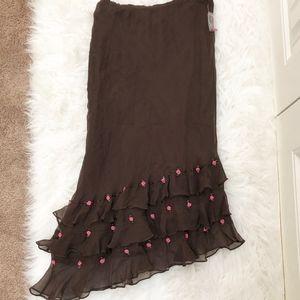 MIXIT Brown Silk Chiffon Skirt Rosettes NWT 10